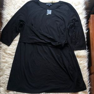 Eloquii NWT black faux wrap drapey front top/dress